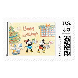 Mickey y Minnie buenas fiestas Timbre Postal