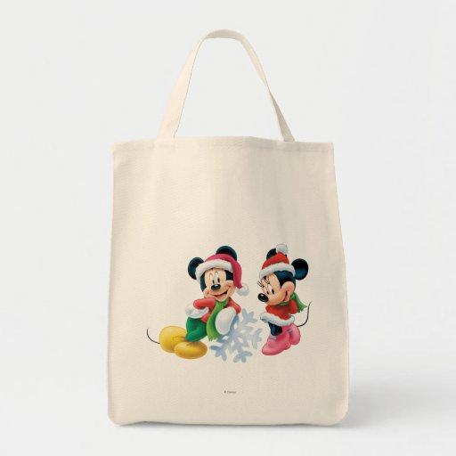 Mickey y Minnie con el copo de nieve Bolsa Tela Para La Compra