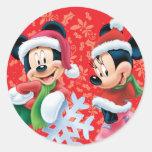 Mickey y Minnie con el copo de nieve Pegatinas Redondas
