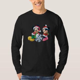 Mickey y Minnie con el copo de nieve Playera