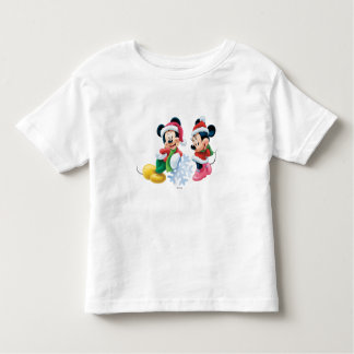 Mickey y Minnie con el copo de nieve Playera De Bebé