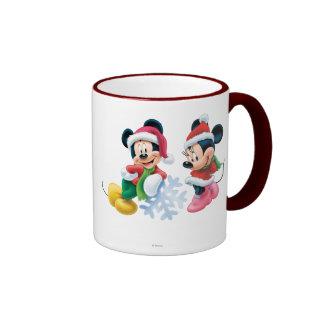 Mickey y Minnie con el copo de nieve Taza A Dos Colores