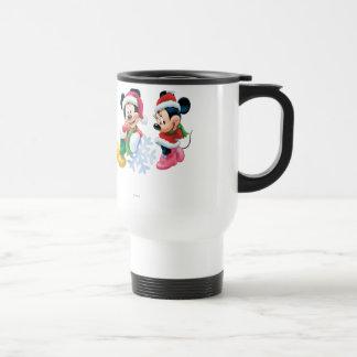 Mickey y Minnie con el copo de nieve Taza De Viaje De Acero Inoxidable