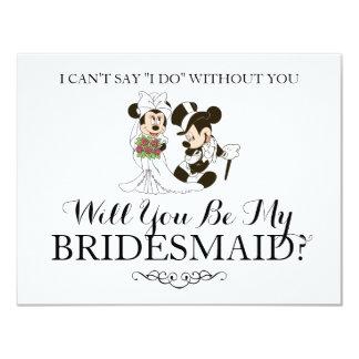 """Mickey y Minnie que casan a la dama de honor Invitación 4.25"""" X 5.5"""""""