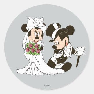 Mickey y Minnie que casan el   que consigue casado Pegatina Redonda