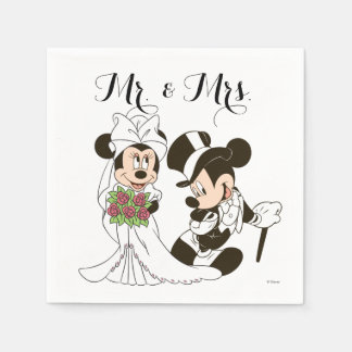 Mickey y Minnie que casan el | que consigue casado Servilleta Desechable