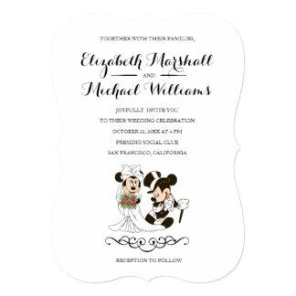 Mickey y Minnie que casan la invitación casada el