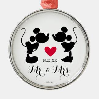 Mickey y Minnie que casan la silueta del | Adorno Navideño Redondo De Metal