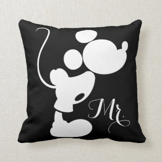 Mickey y Minnie que casan la silueta del   Cojín Decorativo