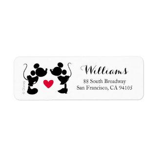 Mickey y Minnie que casan la silueta del | Etiqueta De Remite