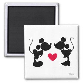 Mickey y Minnie que casan la silueta del | Imán Cuadrado