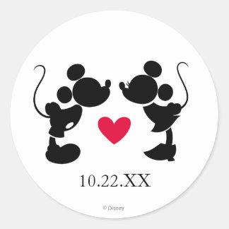 Mickey y Minnie que casan la silueta del | Pegatina Redonda