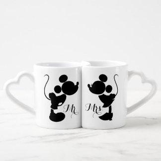 Mickey y Minnie que casan la silueta del | Set De Tazas De Café