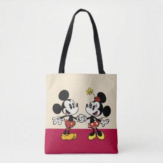 Mickey y Minnie que llevan a cabo las manos Bolsa De Tela