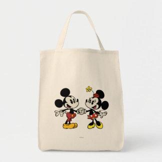 Mickey y Minnie que llevan a cabo las manos Bolsa Tela Para La Compra