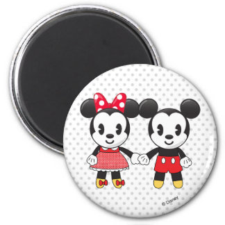 Mickey y Minnie que llevan a cabo las manos Emoji Imán Redondo 5 Cm