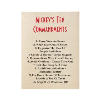 Mickey's 10 Commandments Wood Poster