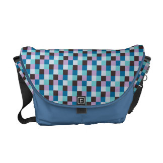 Micro Check Pattern Bright Blue Gray Purple Teal Courier Bag