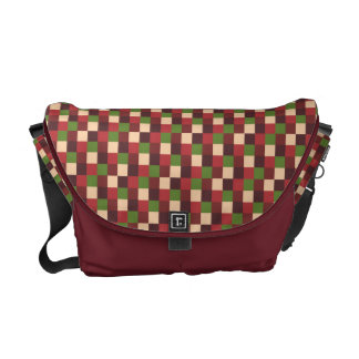 Micro Check Pattern Red Brick Olive Green Tan Messenger Bag