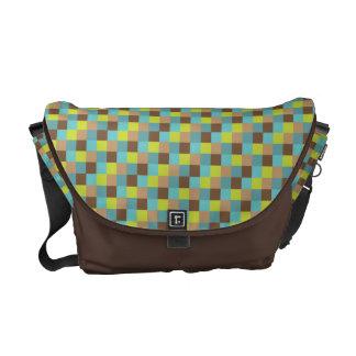 Micro Check Pattern Teal Lime Chocolate Brown Messenger Bag