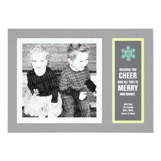 Micro Chevron Aqua & Charcoal Photo Christmas Card