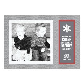Micro Chevron Red & Charcoal Photo Christmas Card