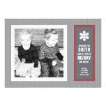 Micro Chevron Red & Charcoal Photo Christmas Card Invitation