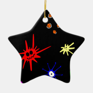 microbes on black ceramic ornament