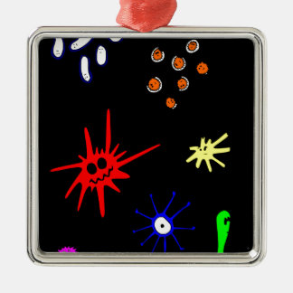 microbes on black metal ornament