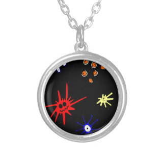 microbes on black silver plated necklace
