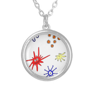 microbes silver plated necklace