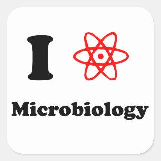 Microbiología Pegatina Cuadrada