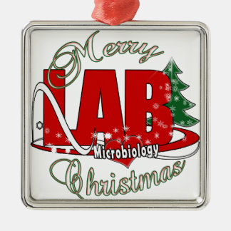 MICROBIOLOGY CHRISTMAS MEDICAL LABORATORY TECH METAL ORNAMENT