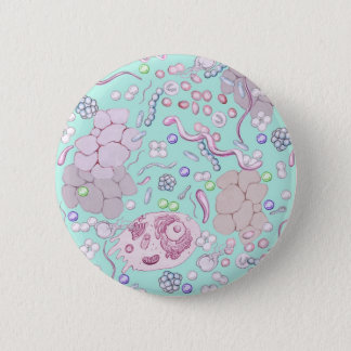 Microbiology in Blue Pinback Button