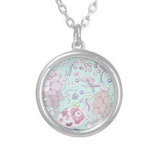 Microbiology in Blue Silver Plated Necklace