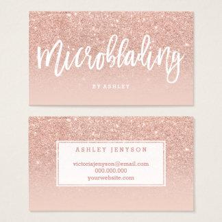 Microblading elegant typography blush rose gold business card