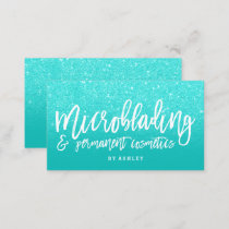 Microblading elegant typography faux aqua glitter business card