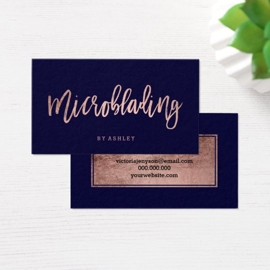 Microblading rose gold typography navy blue business card zazzle microblading rose gold typography navy blue business card colourmoves