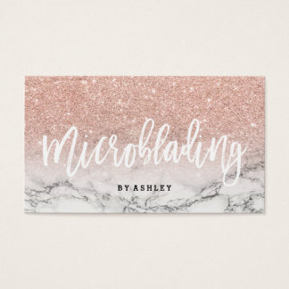 Microblading typography rose gold glitter marble business card