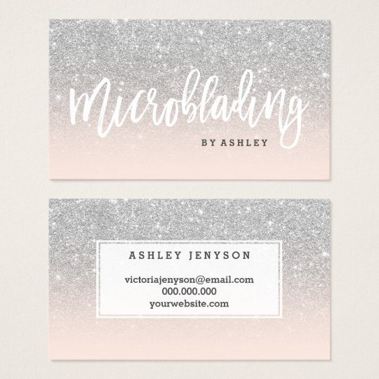 Microblading typography silver glitter blush pink business card microblading typography silver glitter blush pink business card colourmoves