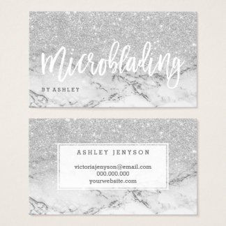Microblading typography silver glitter marble business card