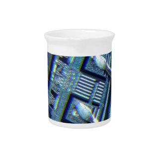 Microchip under microscope beverage pitcher