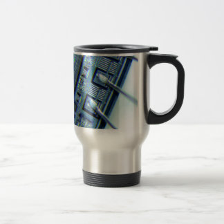 Microchip under microscope travel mug