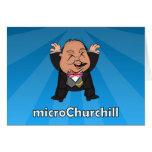 microChurchill Jumping - Blank blue card