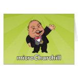 microChurchill Waving - Blank green card