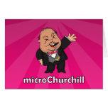 microChurchill Waving - Blank pink card