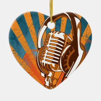 Micrófono Adorno Navideño De Cerámica En Forma De Corazón
