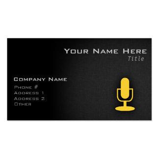 Micrófono ambarino amarillo plantilla de tarjeta de negocio