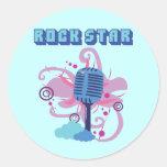Micrófono de la estrella del rock pegatina redonda