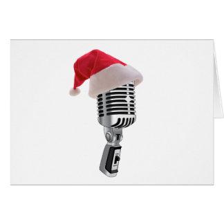 micrófono de santa tarjeta de felicitación